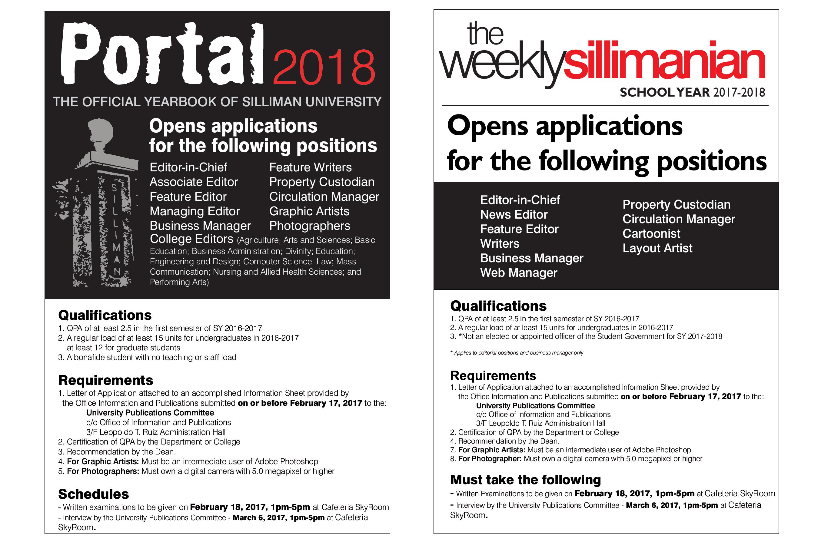 Application for Portal 2018 and The Weekly Sillimanian 2017-2018 Now Open