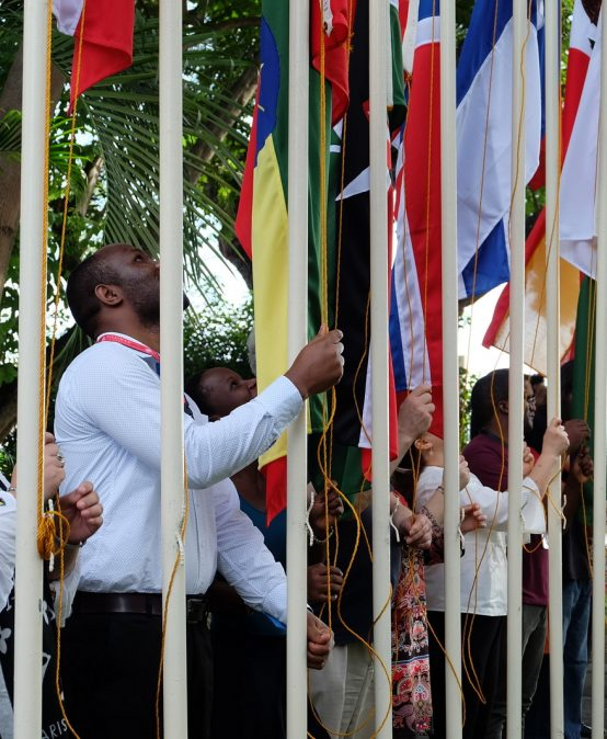 59 national flags raised to open International Cultural Exchange Month