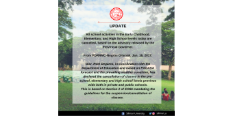 Advisory on Cancellation of School Activities