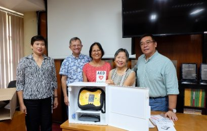 SU received its first AED device from San Diego Alumni Chapter & Friends