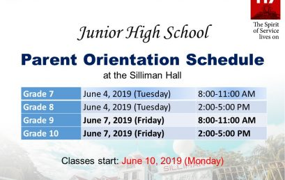 Junior High School Parent Orientation Schedule