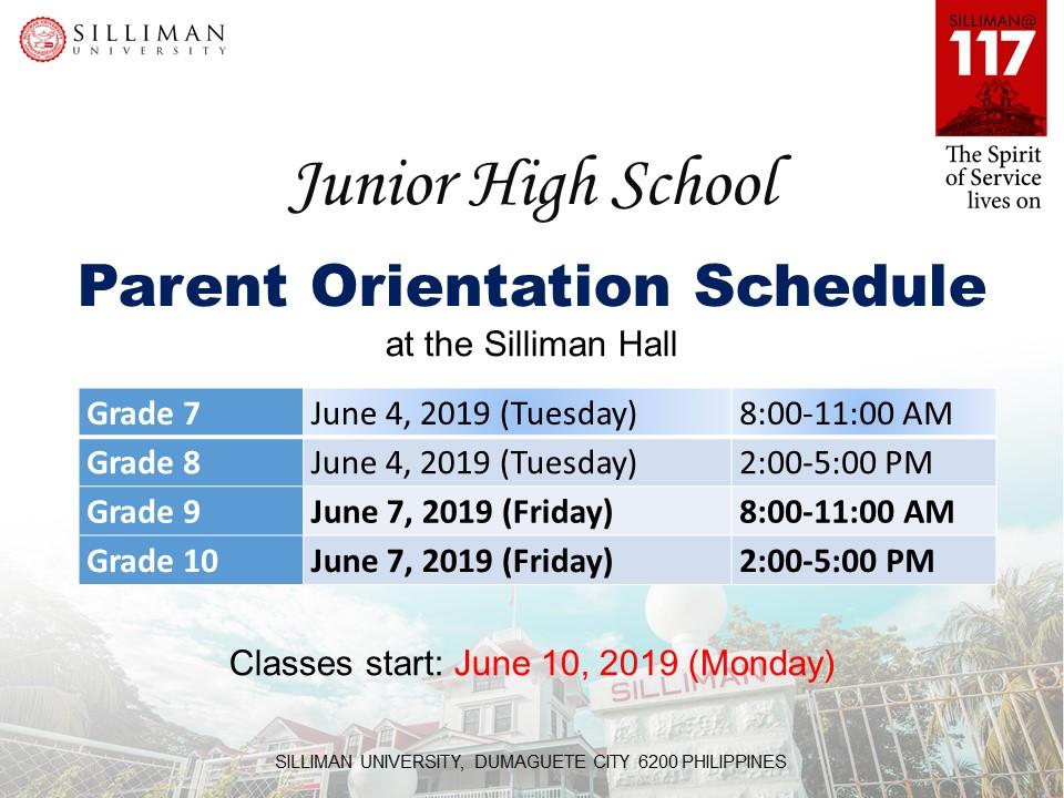 Junior High School Parent Orientation Schedule