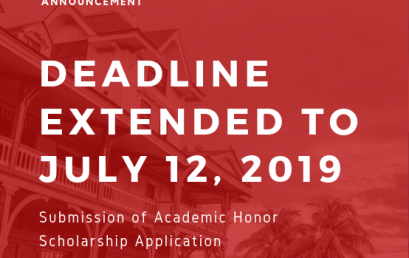 Deadline Extended for Submission of Application for Academic Scholarship