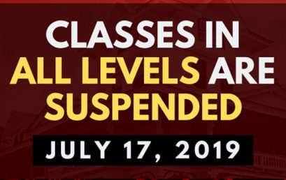 CLASSES IN ALL LEVELS ARE SUSPENDED