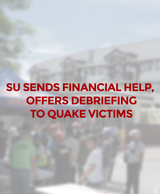 SU sends financial help, offers debriefing to quake victims