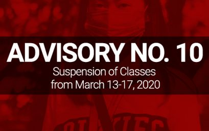 ADVISORY NO. 10: Suspension of Classes from March 13 to 17, 2020