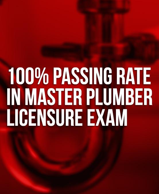 100% passing rate for SU Master Plumbers' licensure exam
