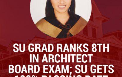 SU grad ranks 8th in Architect Board Exam; SU gets 100% passing rate