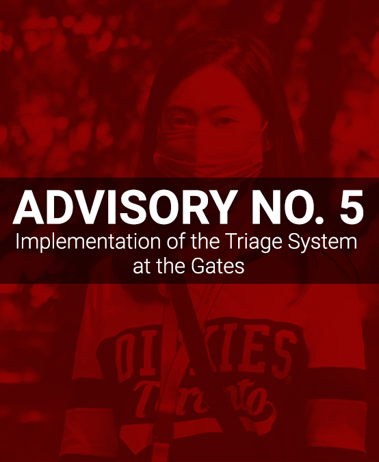 ADVISORY NO. 5: Implementation of the Triage System at the Gates