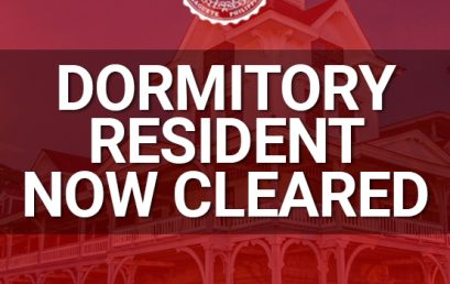 Dormitory resident now cleared