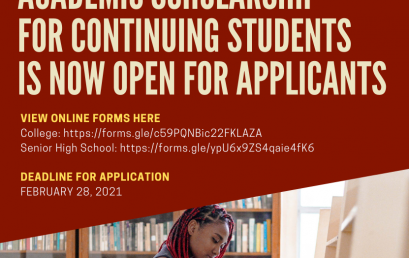 Academic Scholarship for continuing students is now open for applicants